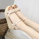 楔形鞋 涼鞋女夏2021新款韓版坡跟仙女風波西米亞編織高跟厚底百搭女鞋子 韓國時尚 618