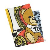 茱麗葉精品【全新現貨】 MOSCHINO 03509 M1840 巴洛克風小熊印花絲質方巾.藍邊