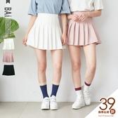 褲裙 純色素面車線百褶拉鍊短褲裙M-L號-BAi白媽媽【190440】