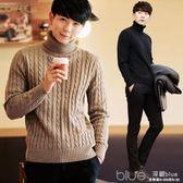 秋季高領毛衣男韓版修身潮流純色個性針織衫男士線衫學生 深藏blue