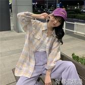 復古格子襯衫女夏季新款韓版polo衫寬鬆休閒格紋襯衣外套(聖誕新品)
