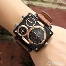 手錶全新大錶設計帆布戶外運動休閒手錶男三機芯時裝 【快速出貨】