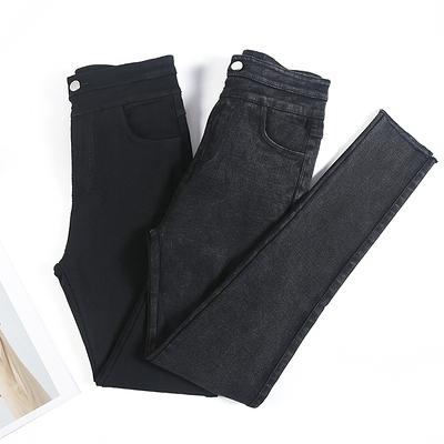 大碼女裝牛仔長褲~高腰大碼牛仔褲女緊身顯瘦雙排扣黑色打底褲小腳鉛筆4F060A
