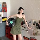 無袖洋裝 2021新款夏季法式小眾設計吊帶裙V領短裙顯瘦短裙子黑色 【快速出貨】