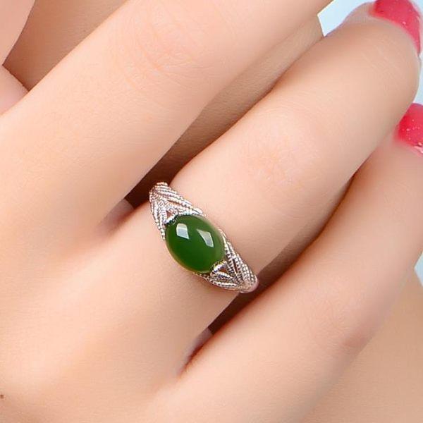 玉戒指:天然和田碧玉指環 女款925純銀 【新飾界】