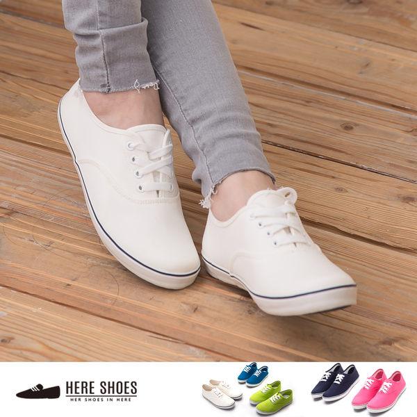 [Here Shoes]5色 舒適皮革質感 素面亮色系休閒款平底包鞋 貼腳顯瘦 小厚底休閒鞋 ◆MIT台灣製─KBC635