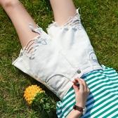 不規則牛仔短褲女高腰夏2020新款韓版顯瘦a字黑色流蘇闊腿熱褲潮 美芭