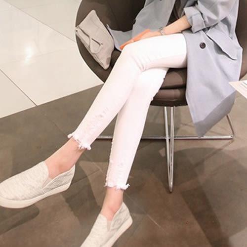 窄管褲 潮流時尚修身毛邊牛仔小腳褲 艾爾莎【TAK4608】
