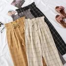 花苞褲抽繩系帶花苞休閒褲女夏裝新款韓版港風格子寬鬆顯瘦哈倫褲潮學生 伊蒂斯