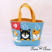 【Tiara Tiara】純棉柴犬富士山溫泉帆布袋(藍)