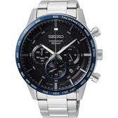SEIKO精工 CS 型男時尚計時手錶-黑x藍錶圈/45.2mm 8T63-00L0D(SSB357P1)