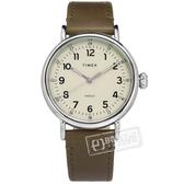 TIMEX 天美時 / TXTW2T20100 /  復刻系列 INDIGLO專利冷光照明 24小時顯示 真皮手錶 灰x橄欖綠 40mm