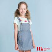 JJLKIDS 女童 經典復古大口袋純棉吊帶牛仔裙(牛仔藍)