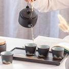 手繪遠山功夫茶具提梁壺茶葉罐套裝陶瓷茶盤商務個人