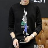 男士t恤潮流韓版2020新款日潮學生休閒長袖衣服圓領打底上衣男裝 藍嵐