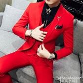 熱銷西裝外套秋季長袖西裝男套裝一套帥氣西服三件套青年韓版修身學生休閒外套LX