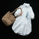 文藝寬鬆中長版棉質卡通刺繡白襯衫開衫/設計家Y6077