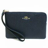 【COACH】經典燙印馬車LOGO全牛皮L型手拿包零錢包(深藍)