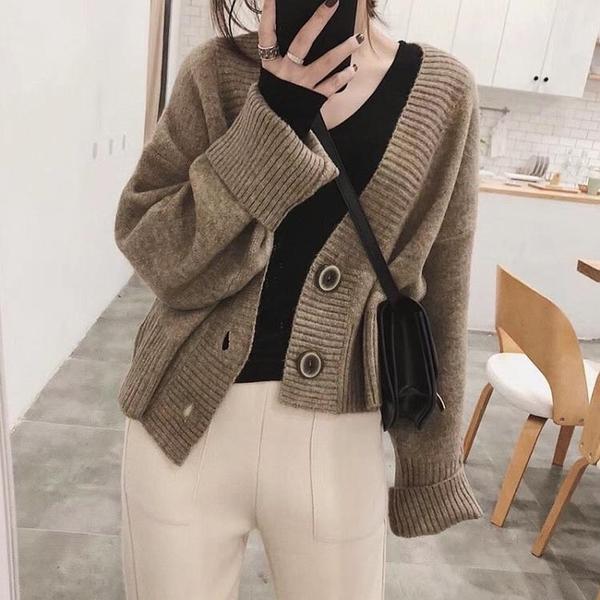 針織外套 長袖針織開衫女秋冬季加厚寬鬆慵懶風復古短款外穿毛衣外套女【快速出貨】