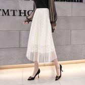 網紗裙   新款女裝韓版百褶高腰中長款百搭軟妹仙女網紗裙半身裙