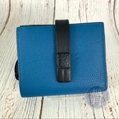 BRAND楓月 LOEWE羅威 261947 深藍 藍綠 撞色 釦式 拉鍊零錢包 短夾 錢包 錢夾