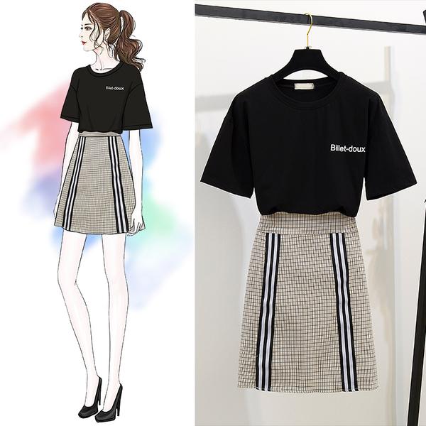 絕版出清 韓系復古字母短袖T恤撞色格紋套裝短袖裙裝