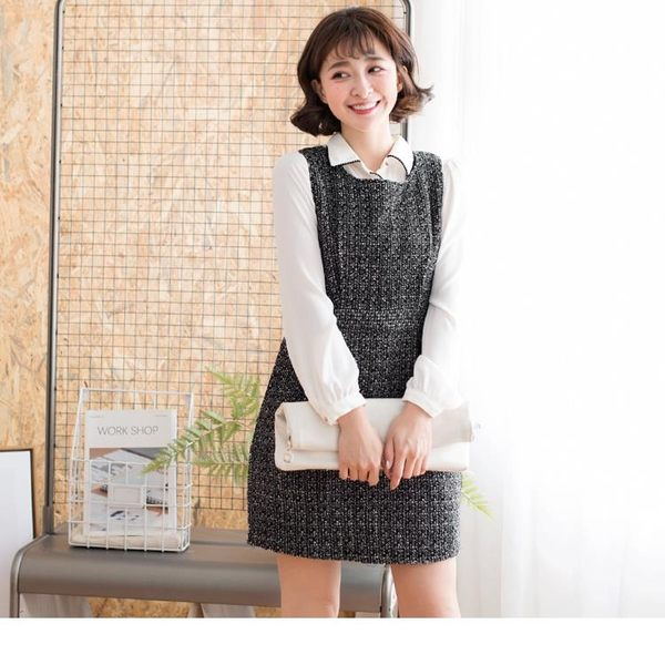 《DA5344-》黑白花紋布腰身打褶無袖洋裝 OB嚴選