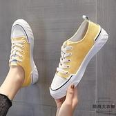 大碼女鞋41一43休閒薄款小白鞋百搭運動小雛菊帆布鞋【時尚大衣櫥】