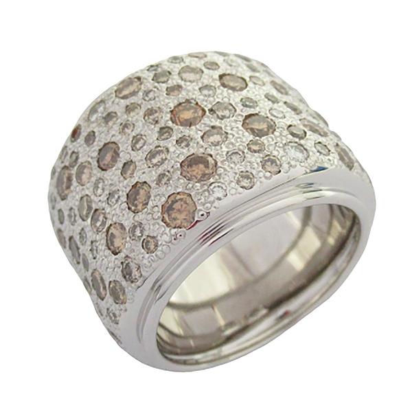 Pomellato 寶曼蘭朵 18k白金鑲鑽寬版戒指 Diamond Ring 【BRAND OFF】