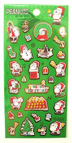 SNOOPY貼紙 史努比 正版授權 聖誕裝飾 卡片佈置 SN-ST04 綠款 【金玉堂文具】