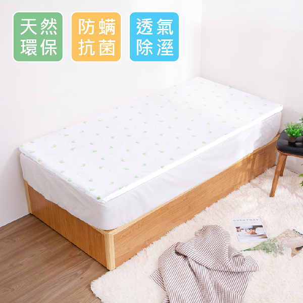 天然透氣5cm乳膠床墊(附枕)【3x6.2尺 單人】