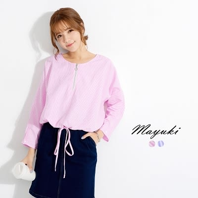東京著衣-拉鍊領口抽繩條紋上衣-S.M(6020213)