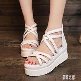 2019夏季新款魚嘴涼鞋坡跟女鞋子韓版厚底休閒白色鞋松糕鞋高跟鞋PH2388【彩虹之家】