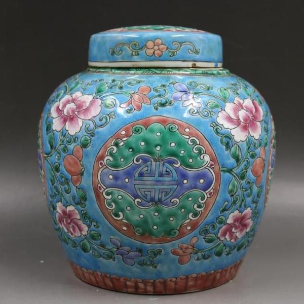 清雍正綠地粉彩福壽罐茶葉罐仿古老貨瓷器家居博古裝飾古董擺件1入