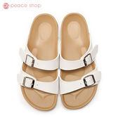拖鞋-peace衣著館-MIT手工鞋-夏日必備馬卡龍色系拖鞋,白色