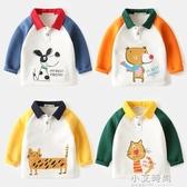 兒童長袖T恤韓版卡通寶寶翻領上衣春秋裝新款童裝男童Polo衫純棉【小艾新品】