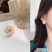 S925銀針 韓國ins小眾氣質簡約花朵耳環復古超仙少女耳釘耳夾H697 極簡雜貨