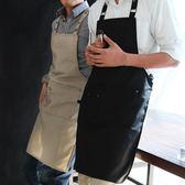 簡約美式工裝圍裙可調節時尚男女通用咖啡店工作餐廳袖套