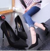 高跟鞋細跟淺口女鞋絨面百搭PLL2323【3C環球數位館】