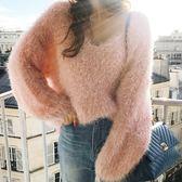 梨卡 - 初秋新款韓版純色寬鬆V領馬海毛毛絨絨長袖毛衣針織衫上衣B978