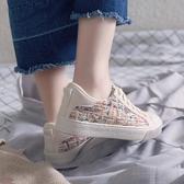 春ins超火的鞋子chic帆布鞋女百搭學生韓版ulzzang港味復古鞋  卡布奇諾