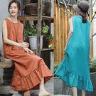 洋裝-4色棉麻內搭裙無袖背心裙/設計家 Q8502
