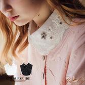 假領子 刺繡珍珠水鑽花朵歐根紗領襯衫假領子-Ruby s 露比午茶