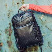 時尚男士背包韓版皮質後背包男復古潮流15.6寸商務電腦包書包男包  卡布奇諾