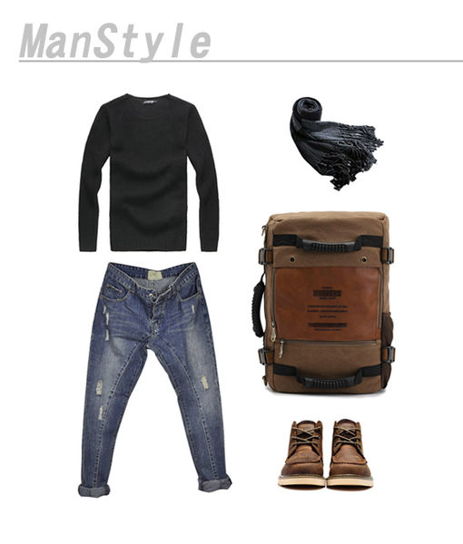 DF BAGSCHOOL - 日雜時尚型男帆布多功能手提後背包