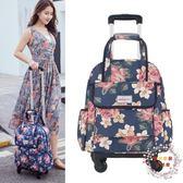 16寸手提輕便拉桿包女帆布防水印花短途小旅行箱萬向輪行李拉桿箱