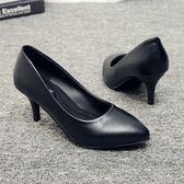 高跟鞋-真皮舒適職業工作鞋女黑色工裝空姐高跟鞋晚會旗袍細跟單鞋新 花間公主