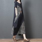 大碼洋裝 2019夏季新款寬鬆大碼女裝文藝複古拼接棉麻短袖洋裝顯瘦長裙子