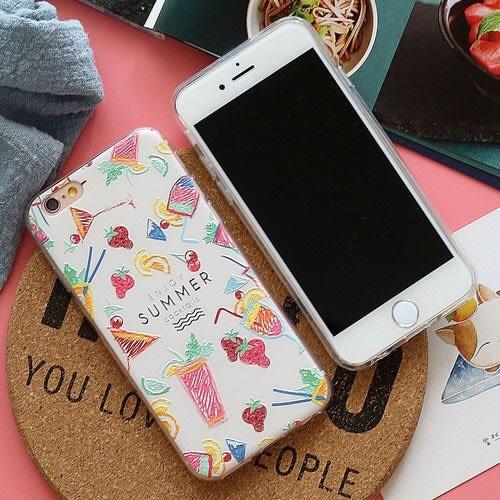 iPhone手機殼 夏日檸檬雞尾酒 浮雕磨砂軟殼 蘋果iPhone7/iPhone6/iPhone5手機殼