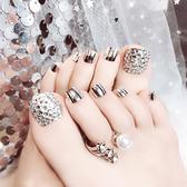 夏日腳趾甲成品美甲閃鑽腳貼片金屬銀光星月美甲仙女款可重複穿戴 店慶降價